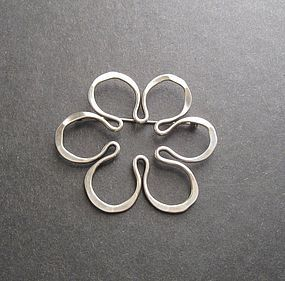 Vintage Modernist John Lewis Flower Brooch Sterling