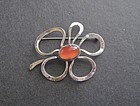 Sterling Luella C Schroeder LCS Hand Wrought Modernist Flower Brooch