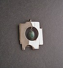 Sterling Modernist Pendant Dangling Agate Hand Made