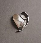Vintage Modernist Leaf Heart Brooch Sterling By Sara