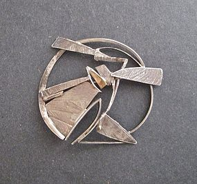Sterling Modernist Large Brooch 14K Accent