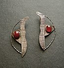 Sterling and Carnelian Modernist Hand Made Earrings