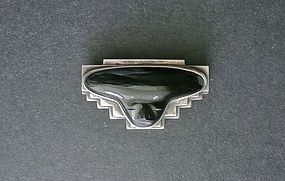 Vintage Bold Mexican Silver Modernist Onyx Face Brooch