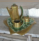 Modernist Salvador Teran Coffee Tea Set Brass Tile