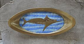 Modernist Salvador Teran Marlin Tray Brass Tile