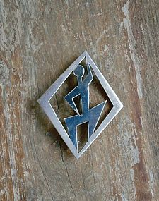 Vintage Modernist Popowski Sterling Brooch Eagle 20