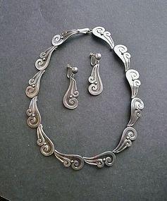 Pedro Castillo Taxco Modernist Silver Necklace Earrings