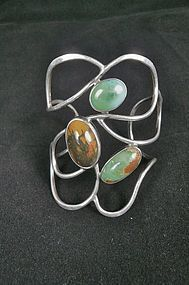 Rare Adda Husted-Andersen Sterling Stone Hand Wrought Bracelet