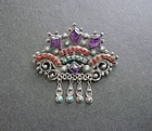Mexican Brooch Sterling Amethyst Coral Turquoise Matl Design