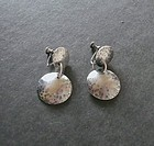 Vintage Sterling Hand Hammered Screw Back Earrings Signed Myra