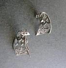 Vintage Marcel Boucher Parisina Mexico Sterling Earrings Screw Backs