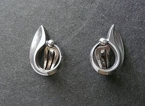 Vintage Sterling Hans Hansen Clip Earrings 422 Script Denmark