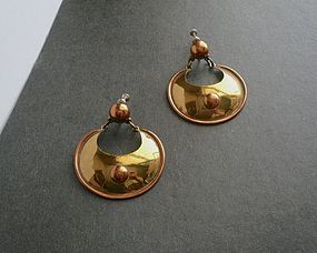 Vintage Modernist Maya Armadillo Earrings Copper Brass Mexico