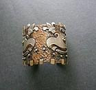 Vintage Casa Maya Mexico Mixed Metals Cuff Bracelet Birds