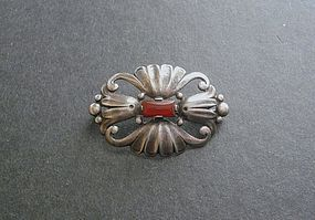 Vintage Baur Sterling Carnelian Arts and Crafts Style Brooch
