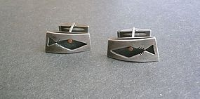 Vintage Modernist ED WIENER Sterling Copper Cuff Links Fish
