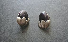 Vintage Esther Lewittes Hand Made Sterling Purple Stone Earrings