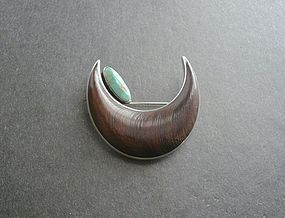 White Hogan NG Nick Gambino Sterling Ironwood Turquoise Brooch
