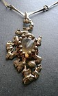 Vintage Hand Made Bronze Gemstone Pendant Necklace Brutalist