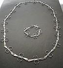 Sterling Studio Hand Wrought Modernist Necklace Bracelet Set
