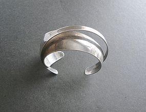 Vintage Modernist Sterling Cuff 3 Dimensional Signed Bracelet