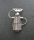 Vintage Mexico Fred Davis Silver Mexican Woman Brooch FD Signed