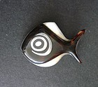 Vintage Modernist Sterling Faux Tortoise Shell Brooch Fish Inlay