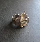 Sterling 24K Gold Janiye Miye Matsukata Modernist Abstract Ring Sz 7.5