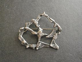 Rare Early Sam Kramer Organic Sterling Brooch Pin Modernist Signed