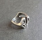 Gerald Stinn Vintage Modernist Sterling Ring Abstract Hand Made Sz 6