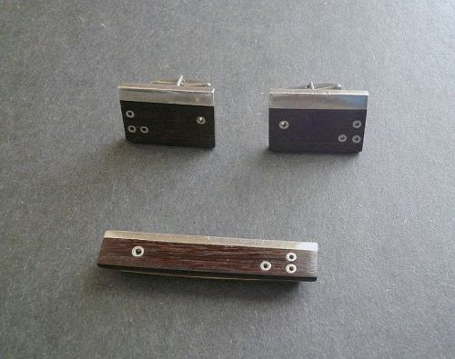 Sigi Pineda Cufflinks Tiebar Modernist Taxco Sterling Exotic Wood