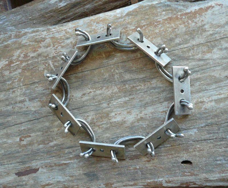 Sterling Silver Modernist Bangle Bracelet Hand Wrought Studio