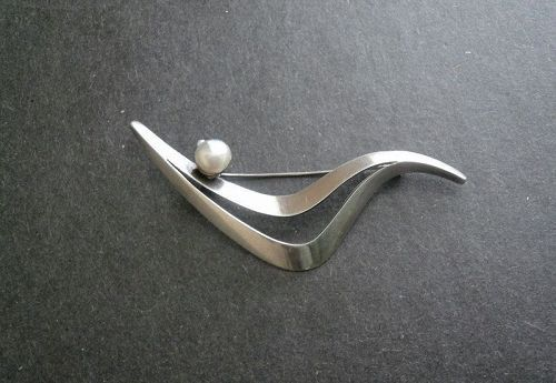 Sigi Modernist Sterling Pearl Brooch #81 Pineda Taxco Tasco