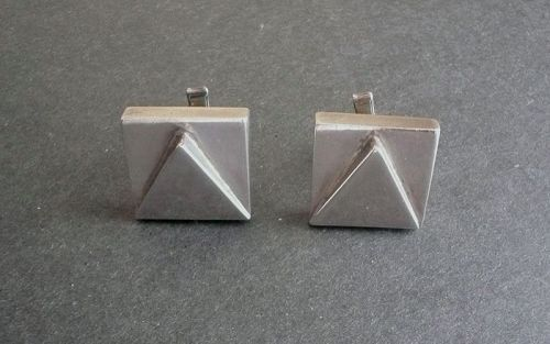 Large Vintage Sterling Silver Lopez Mexico Modernist Cufflinks Eagle 3