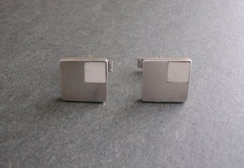 Ted Lowy Sterling Silver Vintage Modernist Cufflinks Bone Inlay