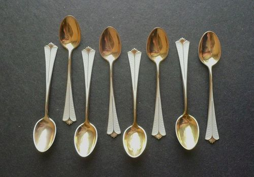 David Andersen Sterling Gilt Enamel Demitasse Spoons Set of Eight