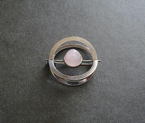 Elis Kauppi Kupittaan Kulta Finland Modernist Brooch Sterling Stone