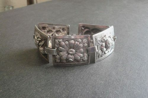 Black Starr Gorham Sterling Floral Hand Wrought Bracelet Arts Crafts