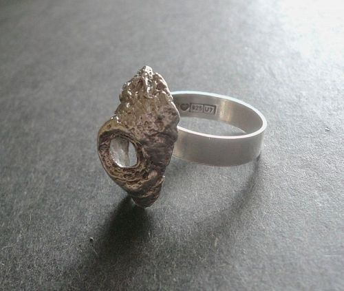 Vintage Modernist Nils Westerback Ring Sterling Finland Swirled Size 8