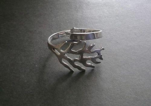 Vintage Modernist Taxco Sterling Clamper Bracelet Cuff Zagal Eagle 3