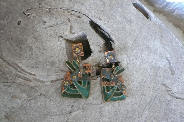 Vintage Casa Maya Whimsical Dogs Earrings Copper Enamel Mexico