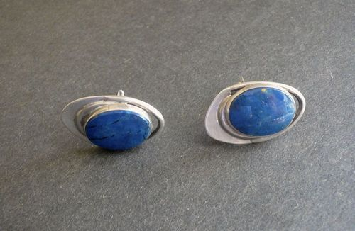 Sterling Modernist Cuff Links Blue Agate Cufflinks Signed N Post