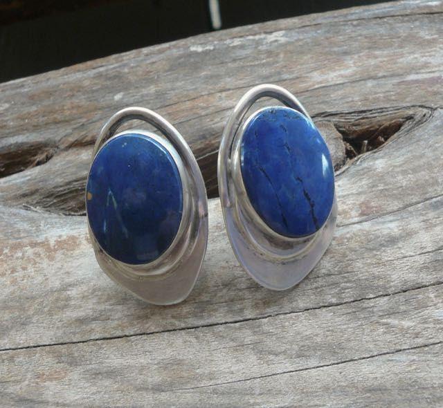 Sterling Modernist Cuff Links Blue Agate Cufflinks Signed N Post