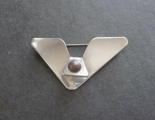 Sam Kramer Modernist Sterling Silver 'V' Brooch with Copper Signed