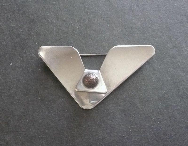 Sam Kramer Modernist Sterling Silver 'V' Brooch with Copper Signed