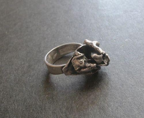 Finland Modernist Erik Granit Sterling Silver Nugget Ring Size 7.5
