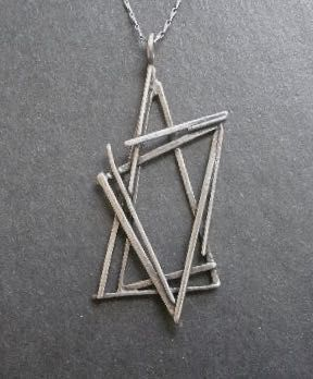 Sterling Star of David Modernist Rachel Gera Pendant Necklace