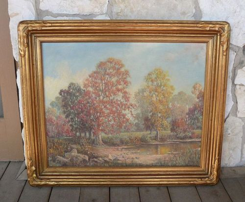 California Artist Herbert Sartelle Large Landscape Painting