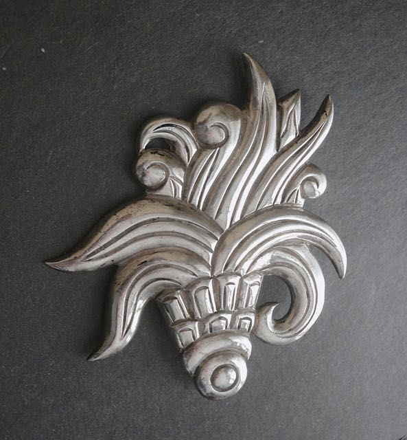 Hector Aguilar Early Taxco HA Large Brooch Sterling 940 Cornucopia