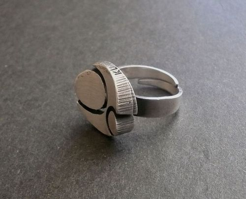 Karl Laine for Sten & Laine Finland Sterling Modernist Ring Adjustable